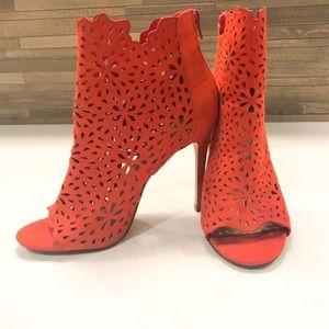 Hot Coral Laser Cut Peep Toe Heel